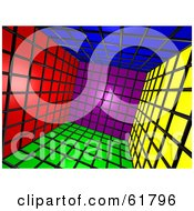 Royalty Free RF Clipart Illustration Of A Tilted 3d Cubic Interior Of Colorful Squares Version 1 by ShazamImages