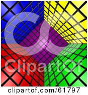 Royalty Free RF Clipart Illustration Of A Tilted 3d Cubic Interior Of Colorful Squares Version 2 by ShazamImages