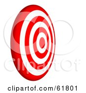 Royalty Free RF Clipart Illustration Of A Side View Of A 3d Red And White 7 Ring Bullseye Target by ShazamImages #COLLC61801-0133