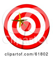 Royalty Free RF Clipart Illustration Of A Golden Arrow Straight In The Bullseye On A Red And White Target by ShazamImages #COLLC61802-0133