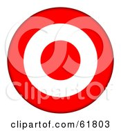 Royalty Free RF Clipart Illustration Of A 3d Red And White 3 Ring Bullseye Target