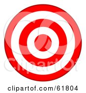Royalty Free RF Clipart Illustration Of A 3d Red And White 5 Ring Bullseye Target by ShazamImages #COLLC61804-0133