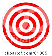 Royalty Free RF Clipart Illustration Of A 3d Red And White 7 Ring Bullseye Target by ShazamImages #COLLC61805-0133