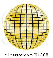 Royalty Free RF Clipart Illustration Of A 3d Tiled Yellow Mirror Disco Ball On White by ShazamImages