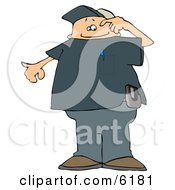Confused Man Wearing A Pager Clipart Picture