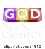 Royalty Free RF Clipart Illustration Of A Line Of 3d Alphabet Blocks Spelling GOD