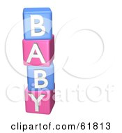 Royalty Free RF Clipart Illustration Of A Stacked Pink And Blue 3d Alphabet Blocks Spelling Out BABY by ShazamImages #COLLC61813-0133