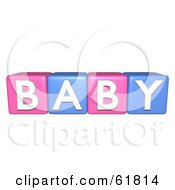 Royalty Free RF Clipart Illustration Of A Line Of Pink And Blue 3d Alphabet Blocks Spelling BABY by ShazamImages #COLLC61814-0133