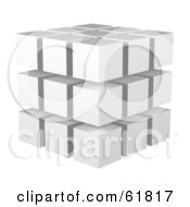 Royalty Free RF Clipart Illustration Of White 3d Blocks Stacked In A 3x3x3 Configuration by ShazamImages