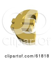 Royalty Free RF Clipart Illustration Of A Gold 3d Euro Currency Symbol by ShazamImages