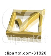 Royalty Free RF Clipart Illustration Of A Gold 3d Check Mark In A Box