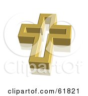 Royalty Free RF Clipart Illustration Of A Gold 3d Christian Cross by ShazamImages #COLLC61821-0133