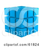 Royalty Free RF Clipart Illustration Of Blue 3d Blocks Stacked In A 3x3x3 Configuration by ShazamImages