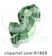 Royalty Free RF Clipart Illustration Of A 3d Green Dollar Symbol With An Abraham Lincoln Design