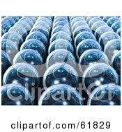 3d Rows Of Reflective Blue Orbs Arranged In Neat Lines
