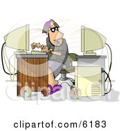 Male Programmer Trying To Hack Into Computer Clipart Picture