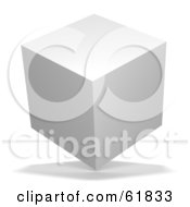 Royalty Free RF Clipart Illustration Of A 3d Blank White Floating Cube Version 2 by ShazamImages