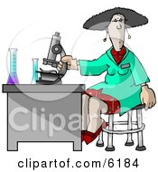 Female Scientist Using A Microscope In A Laboratory Clipart Picture by Dennis Cox