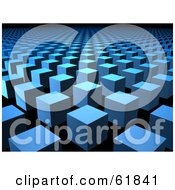 Royalty Free RF Clipart Illustration Of A Background Of Raised 3d Blue Columns