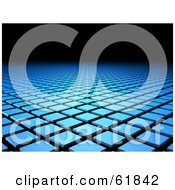 Royalty Free RF Clipart Illustration Of A Background Of Rows Of Blue Cubic Columns With Black Copyspace