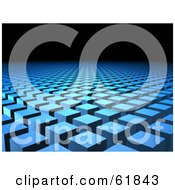 Royalty Free RF Clipart Illustration Of A Background Of Rows Of Raised Blue Cubic Columns With Black Copyspace