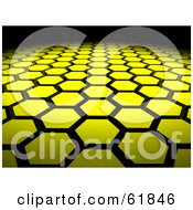 Royalty Free RF Clipart Illustration Of A Background Of 3d Yellow Hexagon Tiles Arranged In Formation Leading Off Into Blackness by ShazamImages