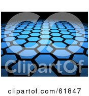Royalty Free RF Clipart Illustration Of A Background Of 3d Blue Hexagon Tiles Arranged In Formation Leading Off Into Blackness