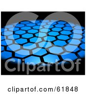 Royalty Free RF Clipart Illustration Of A Background Of 3d Hexagon Tiles Surrounded By Blackness by ShazamImages