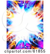 Royalty Free RF Clipart Illustration Of A Colorful Fractal Border Of Blue Orange And Pink Around A Bursting Center Version 4 by ShazamImages
