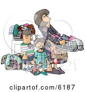 Mom Doing Laundry With Her Kids Clipart Picture