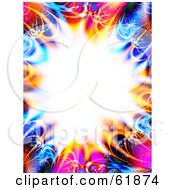 Royalty Free RF Clipart Illustration Of A Bursting White Background With A Colorful Fractal Border Of Pink Blue And Orange