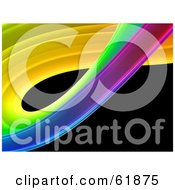 Royalty Free RF Clipart Illustration Of A Curving Colorful Fractal On Black