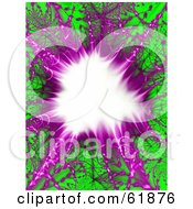 Purple And Green Fractal Explosion Background With A White Center