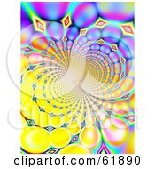 Royalty Free RF Clipart Illustration Of A Spiraling Funky Background Of Colorful Fractals On Yellow by ShazamImages
