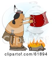 Royalty Free RF Clipart Illustration Of A Native American Man Fanning A Fire With A Blanket
