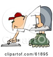 Royalty Free RF Clipart Illustration Of A Cement Finisher Man Bending Over And Using Tools To Smooth The Top
