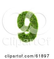 Royalty Free RF Clipart Illustration Of A Green 3d Grassy Number 9 by chrisroll