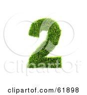 Green 3d Grassy Number 2