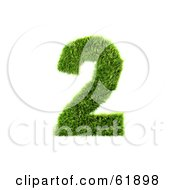 Royalty Free RF Clipart Illustration Of A Green 3d Grassy Number 2 by chrisroll