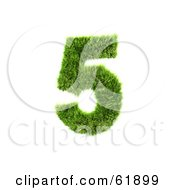 Royalty Free RF Clipart Illustration Of A Green 3d Grassy Number 5