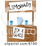 Funny Lemonade Stand Operated By Children Clipart Illustration