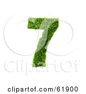 Royalty Free RF Clipart Illustration Of A Green 3d Grassy Number 7 by chrisroll