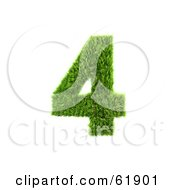Royalty Free RF Clipart Illustration Of A Green 3d Grassy Number 4