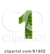 Royalty Free RF Clipart Illustration Of A Green 3d Grassy Number 1 by chrisroll