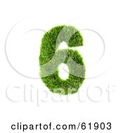 Royalty Free RF Clipart Illustration Of A Green 3d Grassy Number 6 by chrisroll