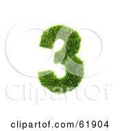 Green 3d Grassy Number 3