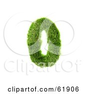 Green 3d Grassy Number 0