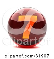 Royalty Free RF Clipart Illustration Of A Round Red 3d Numbered Button 7