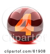 Royalty Free RF Clipart Illustration Of A Round Red 3d Numbered Button 4