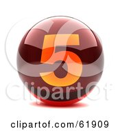Royalty Free RF Clipart Illustration Of A Round Red 3d Numbered Button 5